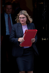 © Licensed to London News Pictures. 05/09/2012. LONDON, UK. Justine Greening, the International Development Secretary, is seen leaving Number 10 Downing Street in London today (05/09/12) after attending the first cabinet meeting after a cabinet reshuffle that took place yesterday (04/09/12).  Photo credit: Matt Cetti-Roberts/LNP