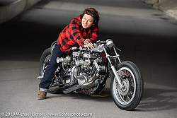 Ken Kentaro with his Hot Chop Speed Shop twin-engine Harley-Davidson Sportster drag bike. Kyoto, Japan. Friday, December 7, 2018. Photography ©2018 Michael Lichter.