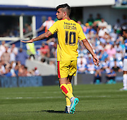 Emmanuel Ledesma (Rotherham midfielder) calling for some calm after a tough first half during the Sky Bet Championship match between Queens Park Rangers and Rotherham United at the Loftus Road Stadium, London, England on 22 August 2015. Photo by Matthew Redman.