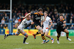 Wasps Lock Kearnan Myall makes a break away from Castres Olympique Number 8 Jannie Bornman going on to set up a try for Wasps Winger Tom Varndell - Photo mandatory by-line: Rogan Thomson/JMP - 07966 386802 - 14/12/2014 - SPORT - RUGBY UNION - High Wycombe, England - Adams Park Stadium - Wasps v Castres Olympique - European Rugby Champions Cup Pool 2.