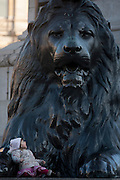 A young girl sits beneath one of the four enormous lion statues at the base of Nelson's column, on 17th January 2017, in Trafalgar Square, London England. The column dedicated to the heroic naval Admiral Lord Nelson is guarded by the four monumental bronze lions sculpted by Sir Edwin Landseer. In recent years there have been numerous falls from the lions resulting in serious injury including the necessity of the air ambulance.