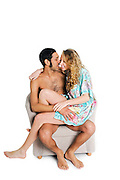 Young intimate couple studio shot