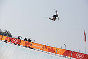 Miguel Porteous, New Zealand, during the mens skiing halfpipe qualification at the Pyeongchang 2018 Winter Olympics on February 20th 2018, at the Phoenix Snow Park in Pyeongchang-gun, South Korea