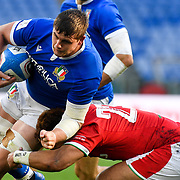 Roma 13/03/2021, Stadio Olimpico<br /> Guinness Six Nations 2021<br /> Italia vs Galles<br /> <br /> Johan Meyer placcato da Uilisi Halaholo