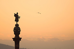 Silhouette sunset statue of Christopher Columbus