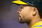 Oakland Athletics left fielder Coco Crisp (4) waits in the on deck circle against the Baltimore Orioles at Oakland Coliseum in Oakland, Calif. on August 8, 2016. (Stan Olszewski/Special to S.F. Examiner)