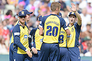Birmingham Bears celebrate the wicket of David Willey during the NatWest T20 Blast semi final match between Northamptonshire County Cricket Club and Warwickshire County Cricket Club at Edgbaston, Birmingham, United Kingdom on 29 August 2015. Photo by David Vokes.