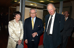 Left to right, LADY ROTHSCHILD, Historian DAVID STARKEY  and LORD ROTHSCHILD at 'Britannia & Muscovy English Silver at The Court of The Tsars' exhibition opening at the Gilbert Collection, Somerset House, London on 20th October 2006<br />