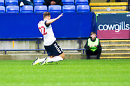 Bolton Wanderers midfielder Dennis Politic celebrates his goal to make it 1-0 for Bolton Wanderers during the EFL Trophy match between Bolton Wanderers and Bradford City at the University of  Bolton Stadium, Bolton, England on 3 September 2019.