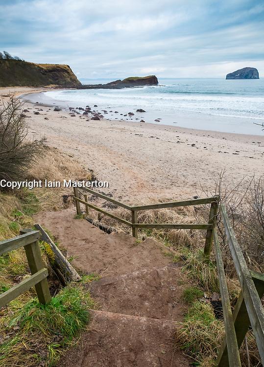 Steps leading down to Seacliff Beach in East Lothian , Scotland, United Kingdom