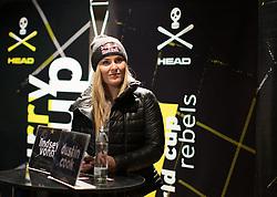 22.10.2015, Freizeitarena, Soelden, AUT, FIS Weltcup Ski Alpin, Pressekonferenz HEAD, im Bild Lindsey Vonn (USA) // Lindsey Vonn of the USA during press conference of HEAD prior to the FIS Ski Alpine Worldcup opening at Freizeitarena in Soelden, Austria on 2015/10/22. EXPA Pictures © 2015, PhotoCredit: EXPA/ Johann Groder