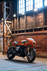 Original Roland Sands - BMW prototype that led to the RnineT production motorcycle. The One Show motorcycle show in Portland, OR. February 12, 2016. ©2016 Michael Lichter