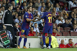 (L-R) Sergi Roberto of FC Barcelona, Ousmane Dembele of FC Barcelona during the UEFA Champions League group D match between FC Barcelona and Juventus FC  on September 12, 2017  at the Camp Nou stadium in Barcelona, Spain.