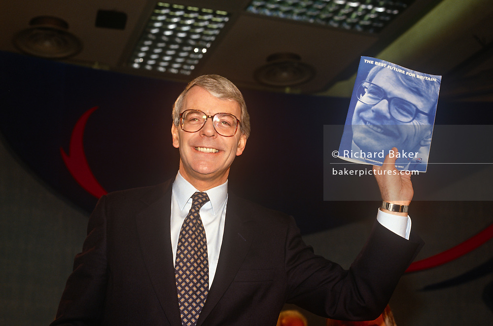 British Prime Minister, John Major launches his Conservative party election manifesto on 18th March 1992 in Brighton, England. Major went on to win the election in April that year and was the fourth consecutive victory for the Conservative Party although it was its last outright win until 2015 after Labour's 1997 win for Tony Blair.