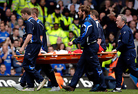 Photo: Daniel Hambury.<br />Chelsea v Manchester United. The Barclays Premiership. 29/04/2006.<br />United's Wayne Rooney leaves the pitch on a stretcher.