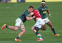 Rugby Union - 2021 British & Irish Lions Tour of South Africa - Second Test: South Africa vs British & Irish Lions<br /> <br /> Luke Cowan-Dickie gets tackled by Jasper Wiese, at Cape Town Stadium, Cape Town.<br /> <br /> COLORSPORT / JOHAN ORTON