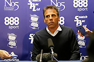 Birmingham City manager Gianfranco Zola during his press conference to announce resignation as manager of Birmingham City after the EFL Sky Bet Championship match between Birmingham City and Burton Albion at St Andrews, Birmingham, England on 17 April 2017. Photo by Richard Holmes.