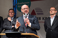 25 SEP 2017, BERLIN/GERMANY:<br /> Thomas Oppermann, MdB, SPD, scheidender Fraktionsvorsitzender, Martin Schulz, SPD Parteivorsitzender, Johannes Kahrs, MdB, SPD, Sprecher Seeheimer Kreis, (v.L.n.R.), Gartenfest des Seeheimer Kreises der SPD, Garten der Deutsche Parlamentarischen Gesellschaft<br /> IMAGE: 20170925-01-137<br /> KEYWORDS: Sommerfest, Rede, speech
