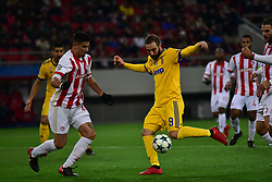 December 5, 2017 - Athens, Attiki, Greece - Effort of Gonzalo Higuain (no 9) of Juventus to score, in front of Dimitris Nikolaou (no 43) of Olympiacos. (Credit Image: © Dimitrios Karvountzis/Pacific Press via ZUMA Wire)