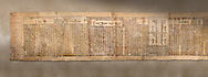 Ancient Egyptian Book of the Dead papyrus - Spell 126 - what to say in the judgement before Osiris, Iufankh's Book of the Dead, Ptolemaic period (332-30BC).Turin Egyptian Museum. <br /> <br /> Spell 125 instruct the deceased as to waht to say infront of Osiris and the Forty Two Judges in the Hall of Two Maat, the netherworlds Judgement Hall. <br /> <br /> The translation of  Iuefankh's Book of the Dead papyrus by Richard Lepsius marked a truning point in the studies of ancient Egyptian funereal studies. .<br /> <br /> If you prefer to buy from our ALAMY PHOTO LIBRARY  Collection visit : https://www.alamy.com/portfolio/paul-williams-funkystock/ancient-egyptian-art-artefacts.html  . Type -   Turin   - into the LOWER SEARCH WITHIN GALLERY box. Refine search by adding background colour, subject etc<br /> <br /> Visit our ANCIENT WORLD PHOTO COLLECTIONS for more photos to download or buy as wall art prints https://funkystock.photoshelter.com/gallery-collection/Ancient-World-Art-Antiquities-Historic-Sites-Pictures-Images-of/C00006u26yqSkDOM