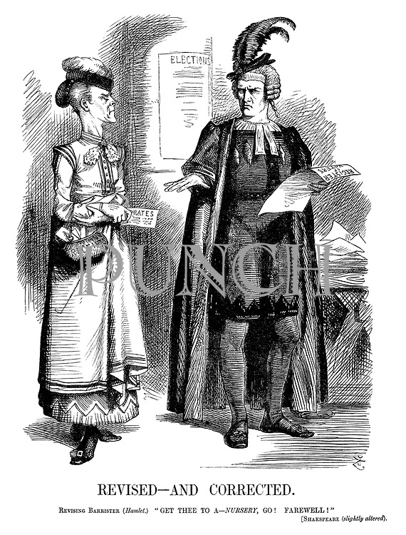"""Revised—and Corrected. Revising Barrister (Hamlet.) """"Get thee to a—nursery, go! Farewell!"""" [Shakspeare (slightly altered)."""
