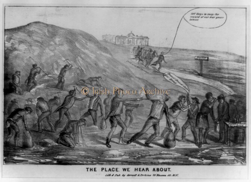The Place we Hear About 1849. Portrayal of violent goldfield life in California. Lee S. Perkins & Henry Serrell.