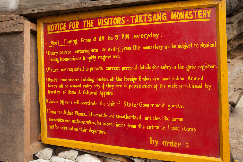 Taktsang or Tiger's Nest Monastery instruction sign at the trailhead
