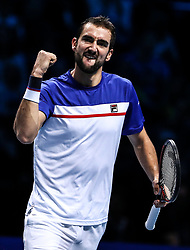 2017?11?14?.    ?????4???——ATP?????????????.       11?14??????????.       ???????????ATP??????????????????????????2?1????????????.       ???????????????.(SP) BRITAIN-LONDON-TENNIS-ATP FINALS-SOCK VS CILIC.(171114) -- LONDON, Nov. 14, 2017  Marin Cilic of Croatia competes during the singles round-robin match against Jack Sock of the United States during the Nitto ATP World Tour Finals at O2 Arena in London, Britain on Nov. 14, 2017. Jack Sock won 2-1. (Credit Image: © Tang Shi/Xinhua via ZUMA Wire)