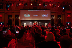 CARDIFF, WALES - Monday, October 5, 2015: Wales Helen Ward is interviewed by Frances Donovan during the FAW Awards Dinner at Cardiff City Hall. (Pic by Ian Cook/Propaganda)