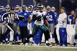 Philadelphia Eagles cornerback Sheldon Brown #24 runs the ball for a touchdown after he intercepted a pass during the NFL game between the Philadelphia Eagles and the New York Giants on December 13th 2009. The Eagles won 45-38 at Giants Stadium in East Rutherford, New Jersey. (Photo By Brian Garfinkel)
