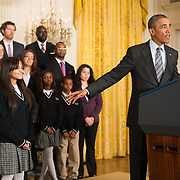 Bio of Introducer:<br />  <br /> President Obama will be introduced by Kiara Molina, a ninth-grader at the Harlem Children's Zone Promise Academy. Kiara, whose mother and grandmother are both from the Dominican Republic, lives in Harlem and has been with the Harlem Children's Zone since she was four years old.<br />  <br /> Stage Participants:<br />  <br /> Joining the President on stage are students and staff from the Harlem Children's Zone, the program that served as one of the models for the Promise Zone Initiative. Since 1997, Harlem Children's Zone has provided free support for the community through new schools, parenting workshops, a pre-school program, after-school programs and child-oriented health programs for thousands of families. The Harlem Children's Zone offers a comprehensive, neighborhood approach with the goal of breaking the cycle of poverty, so that every child can graduate from college and have a chance to live their dreams. The program currently serves more than 12,300 children from birth through college, including 1,450 students who attend their two Promise Academy Charter schools and more than 9,000 students from traditional public schools. The participants on stage all attend or work at their Promise Academy charter schools.THE WHITE HOUSE<br /> Office of the Press Secretary<br /> For Immediate Release                                               January 9, 2014<br />  <br />  <br /> REMARKS BY THE PRESIDENT<br /> ON PROMISE ZONES<br />  <br /> East Room<br />  <br />  <br /> 2:24 P.M. EST<br />  <br />  <br /> THE PRESIDENT:  Well, welcome to the White House, everybody. And that was one of the best introductions I've ever had.  (Applause.)  So we're so proud of Kiara for the introduction and for sharing your story, and you're just so poised.  And I know Geoff Canada is just out there all excited -- (laughter) -- and proud, and I know your mom is proud.  I know she is.  She should be. <br />  <br /> Kiara and the rest of these young people g