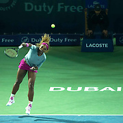 Serena Williams serves in the Barclays ladies tennis championships in Dubai.<br />