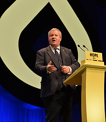 Pictured: SNP Westminster leader Ian Blackford delivers a rousing speech during the SNP autumn conference in Glasgow.<br /> <br /> © Dave Johnston / EEm