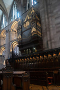 Interior view looking towards the ornate church organ of Hereford Cathedral on 7th June 2021 in Hereford, United Kingdom. Hereford Cathedral is the cathedral church of the Anglican Diocese of Hereford, England. A place of worship has existed on the site of the present building since the 8th century or earlier. The present building was begun in 1079. Substantial parts of the building date from both the Norman and the Gothic periods.