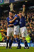 Photo. Jed Wee.<br /> Everton v Norwich City, FA Cup 3rd Round, Goodison Park, Liverpool. 03/01/2004.<br /> Everton celebrate Kevin Kilbane's (C) goal.