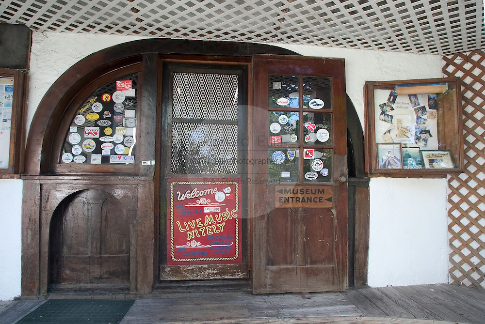 Entry to the bar at the Compleat Angler Bar & Hotel, once a haunt of Ernst Hemingway along the King's Highway in Alice Town on the tiny Caribbean island of Bimini, Bahamas