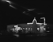 """Ackroyd 01363-1. """"Oregon Sports Service. Exteriors of buildings. March 28, 1949"""" (Merhars Drive-In, 5629 SE 82nd, between Ellis & Reedway, just south of Foster)"""