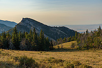 Evening sunlight shines on an unnamed peak near Bear Gulch in the Bighorn Mountains.