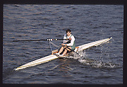 London. United Kingdom.  Simon LARKIN,  1990 Scullers Head of the River Race. River Thames, viewpoint Chiswick Bridge Saturday 07.04.1990<br /> <br /> [Mandatory Credit; Peter SPURRIER/Intersport Images] 19900407 Scullers Head, London Engl