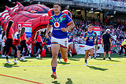 Roger Tuivasa-Sheck leads the Warriors out on his 100th game for the club. St George Dragons v Vodafone Warriors. NRL Rugby League, Netstrata Jubilee Stadium, Sydney, NSW, Australia, Sunday 18th April 2021 Copyright Photo: David Neilson / www.photosport.nz