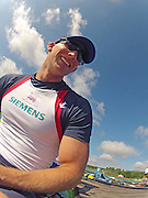 Munich, GERMANY,  GBR M8+. Matt LANGRIDGE, FISA World Cup on the Munich Olympic Rowing Course,  Thursday   14/06/2012. [Mandatory Credit Peter Spurrier/ Intersport Images]