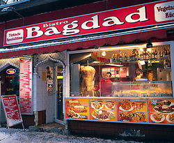 Exterior of typical Turkish kebab restaurant in multi ethnic Kreuzberg district of Berlin Germany