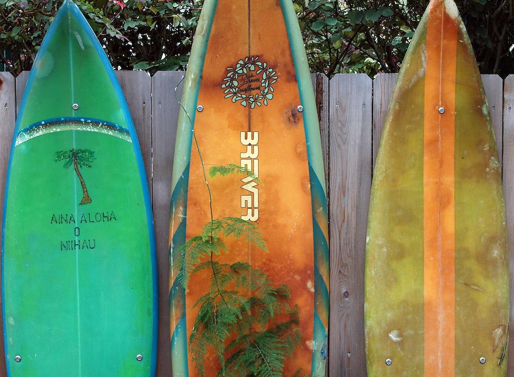 Surfboard graphic in Kauai, Hawaii