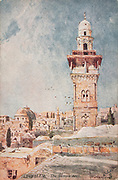 Front of an Illustrated Picture postcard Jerusalem, The Temple Area, Dome of the Mosque of Omar and the Wailing wall <br /> From the Holy Land Series II Printed in the United Kingdom by Tuck's Post Card (Raphael Tuck & Sons) in 1903 <br /> Illustrated by Fulleylove, John, 1847-1908