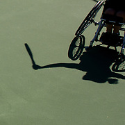 Wheelchair tennis players warm up at the UNIQLO Wheelchair Doubles Masters tennis tournament held at the Marguerite Tennis Pavilion on Saturday, Nov. 7, 2015 in Mission Viejo, Calif.