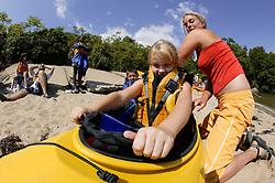 Kate Helping Natasha Get in Kayak