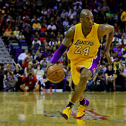Apr 8, 2016; New Orleans, LA, USA; Los Angeles Lakers forward Kobe Bryant (24) drives to the basket during the first quarter of a game against the New Orleans Pelicans at the Smoothie King Center. Mandatory Credit: Derick E. Hingle-USA TODAY Sports