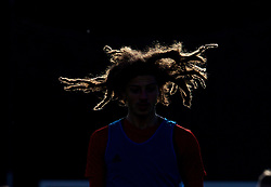 CARDIFF, WALES - Wednesday, November 14, 2018: The dreadlocks of Wales' Ethan Ampadu highlighted in the sunshine during a training session at the Vale Resort ahead of the UEFA Nations League Group Stage League B Group 4 match between Wales and Denmark. (Pic by David Rawcliffe/Propaganda)