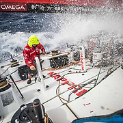 Leg 4, Melbourne to Hong Kong, day 13 on board MAPFRE, Pablo Arrarte grinding at the mid pedestal. Photo by Ugo Fonolla/Volvo Ocean Race. 13 January, 2018.