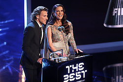 Diego Forlan and Catherine Zeta Jones present the Puskas Award for goal of the season during the Best FIFA Football Awards 2017 at the Palladium Theatre, London.